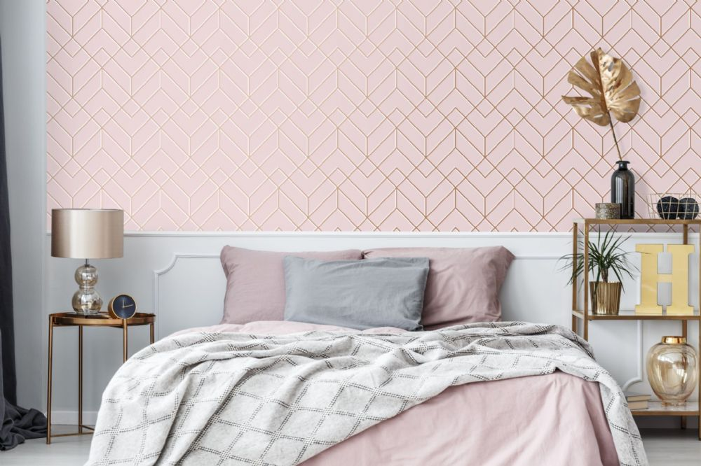 Graham and Brown Losanges Filaires Pink 106156 Wallpaper PB